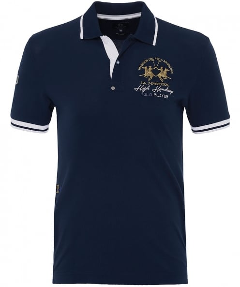 La Martina Slim Fit Pique Brooks Polo Shirt