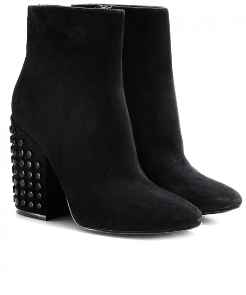 Kendall and Kylie Shoes Suede Studded Heel Ankle Boots