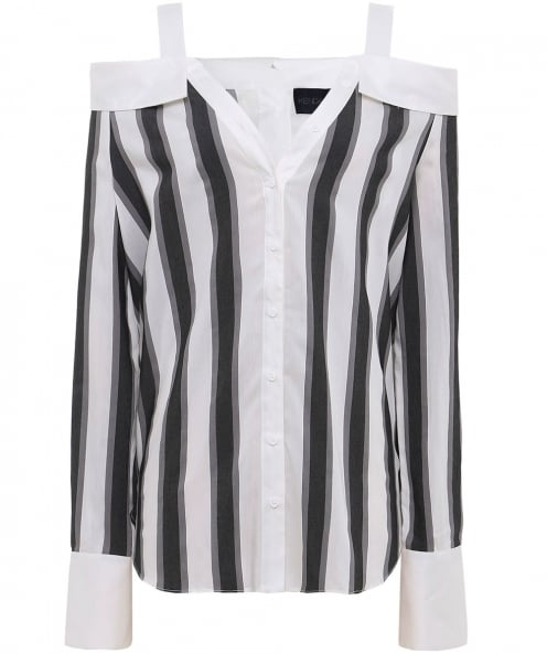 Kendall and Kylie Stripe Off Shoulder Shirt