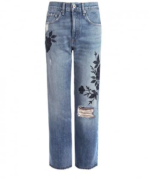 Rag and Bone Embroidered Marilyn Cropped Jeans