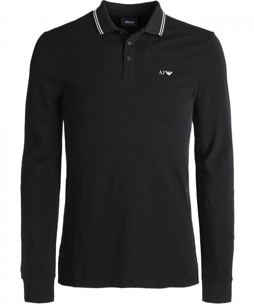 Armani Jeans Pique Long Sleeve Polo Shirt