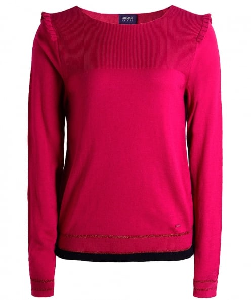 Armani Jeans Long Sleeve Frill Shoulder T-Shirt