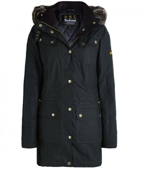 Barbour International Hooded Mallory Wax Jacket