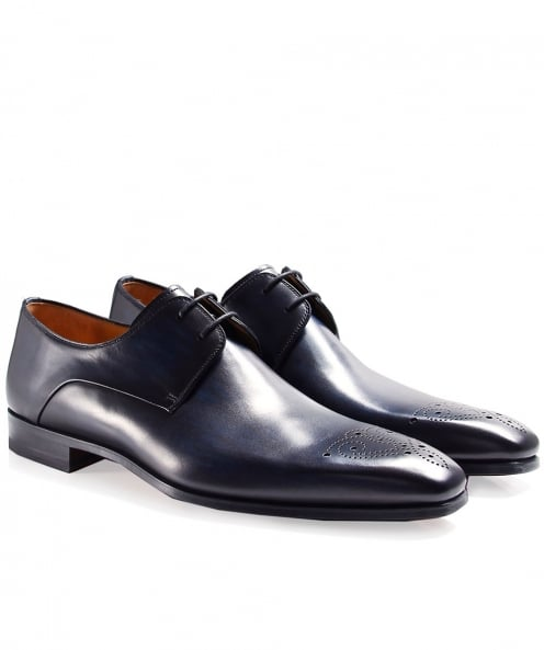 Magnanni Burnished Leather Derby Shoes
