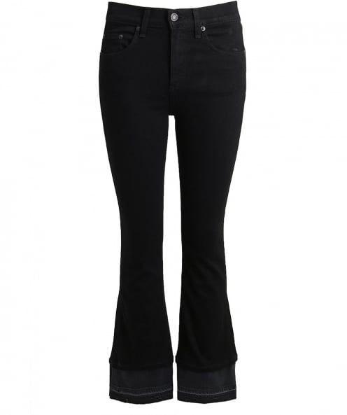 Rag and Bone Cropped Contrast Flare Jeans