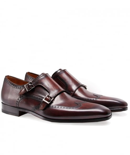 Magnanni Leather Double Monk Strap Shoes
