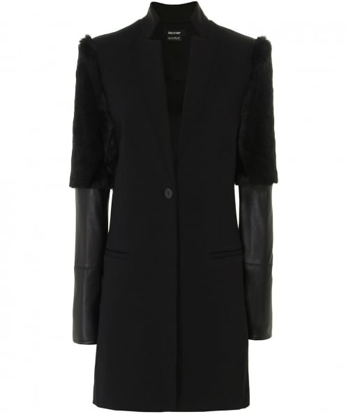 Isabel de Pedro Faux Fur Trim Long Jacket