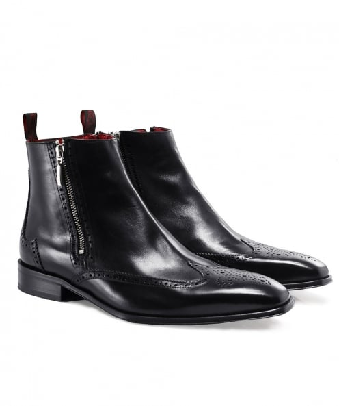 Jeffery-West Leather Double Zip Brogue Boots