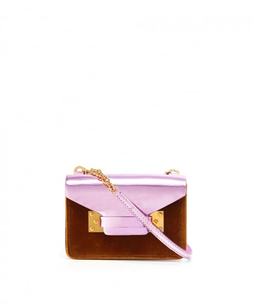 Sophie Hulme Small Metallic Velvet Crossbody Bag