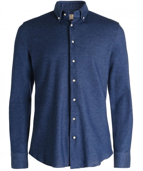 Hackett Slim Fit Knitted Cotton Shirt