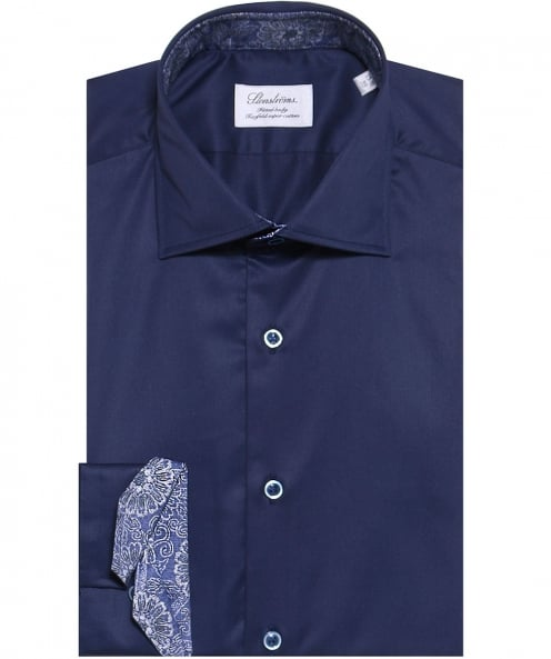 Stenstroms Fitted Floral Trim Shirt
