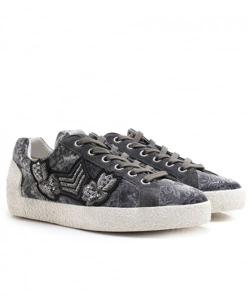 Ash Printed Satin Nak Arms Trainers