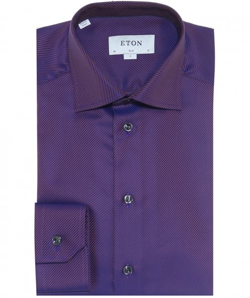 Eton Slim Fit Textured Twill Shirt