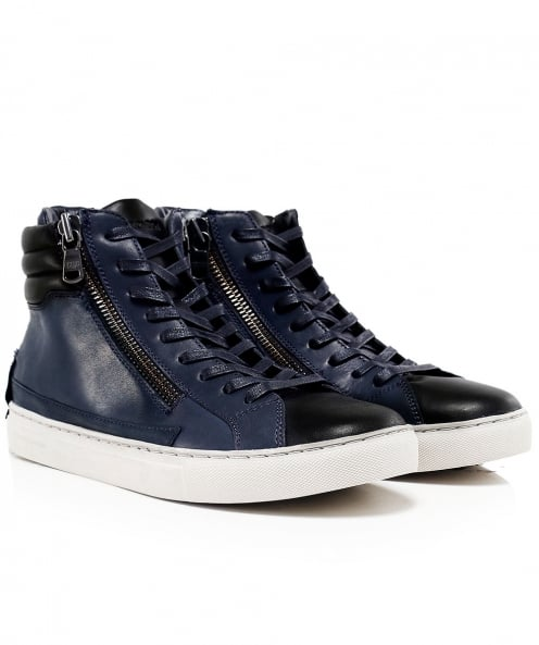 Crime London Leather High-Top Java Trainers