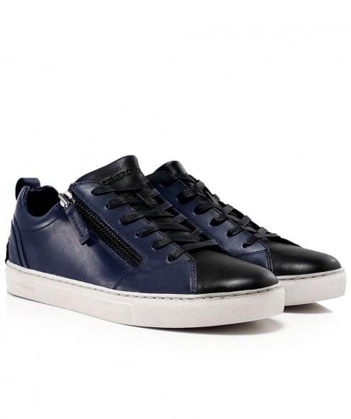 Crime London Leather Side Zip Java Trainers