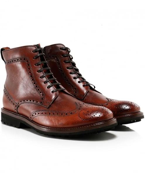 Joss Leather Vacchetta Brogue Boots