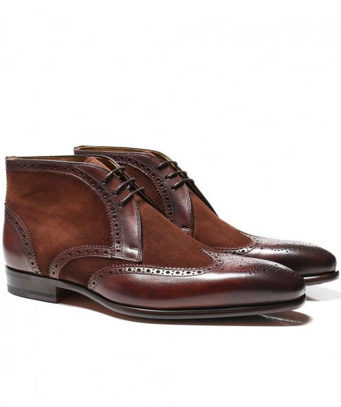 Magnanni Suede & Leather Brogue Boots