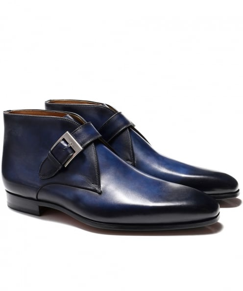 Magnanni Leather Monk Strap Boots