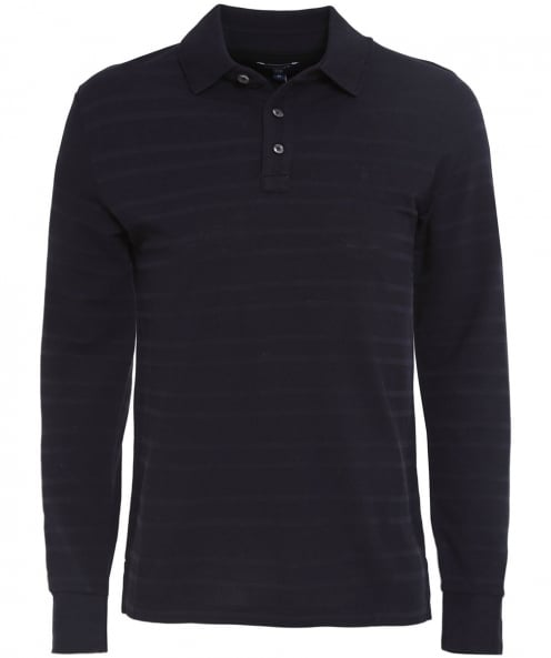 Gant Pique Striped Long Sleeve Polo Shirt