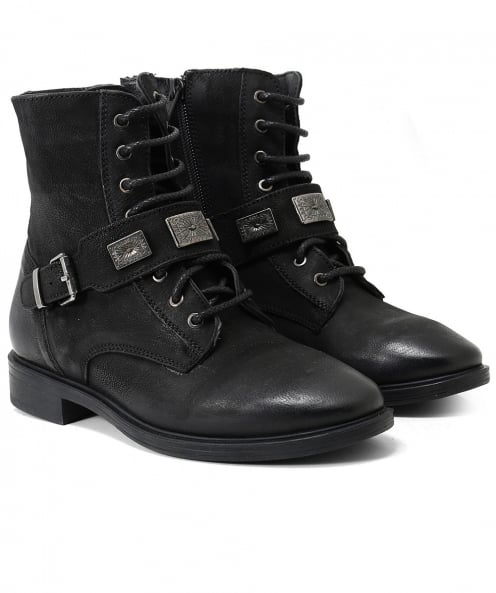 Inuovo Burnished Leather Facula Buckle Boots