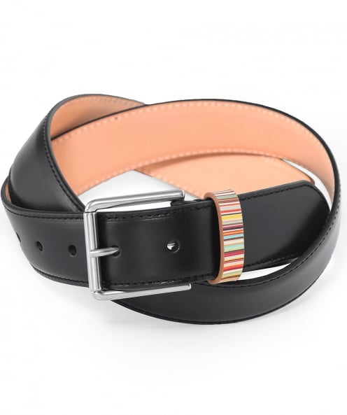 Paul Smith Leather Signature Stripe Keeper Belt