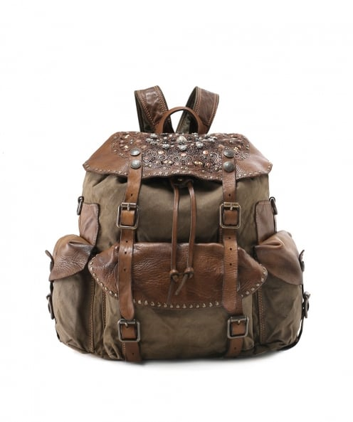 Campomaggi Coated Canvas Embellished Backpack