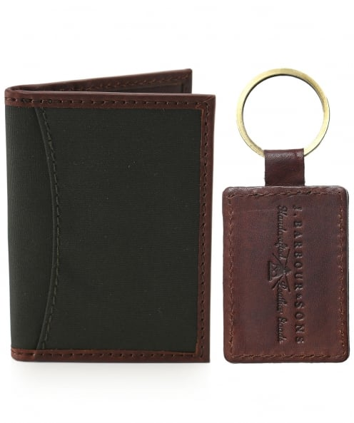 Barbour Dry Wax Leather Wallet & Keyring