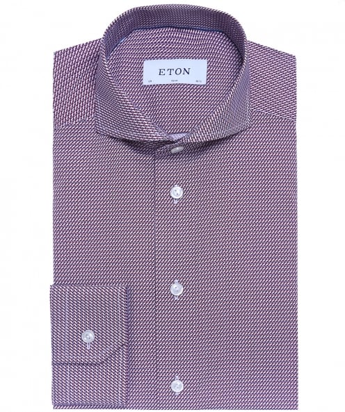 Eton Slim Fit Patterned Poplin Shirt