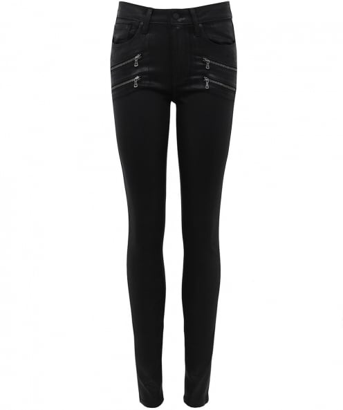 Paige Denim Leather Effect High Rise Jeans
