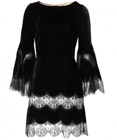 Alice and Olivia Velvet Leann Bell Sleeve Tunic Dress