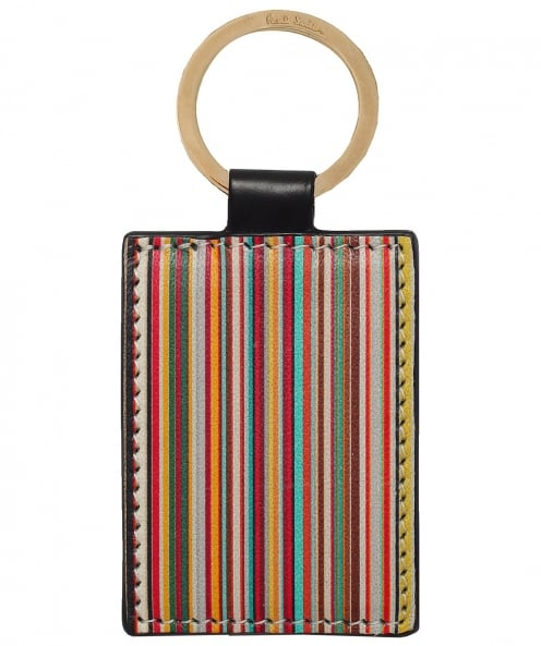 Paul Smith Calf Leather Signature Stripe Keyring
