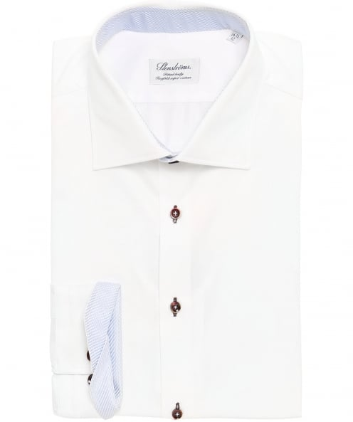 Stenstroms Fitted Woven Trim Shirt