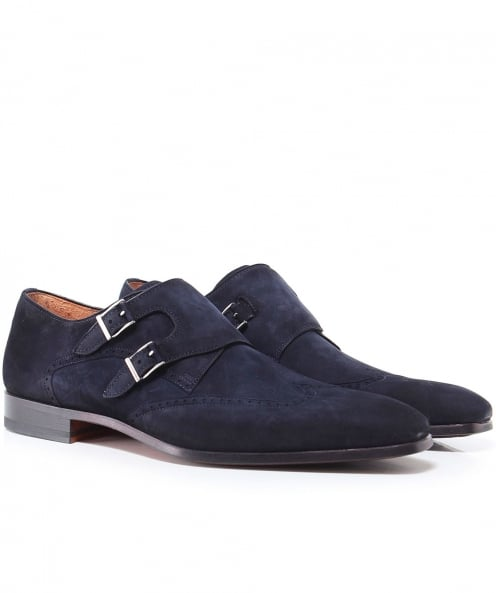 Magnanni Suede Wing-Tip Monk Strap Shoes