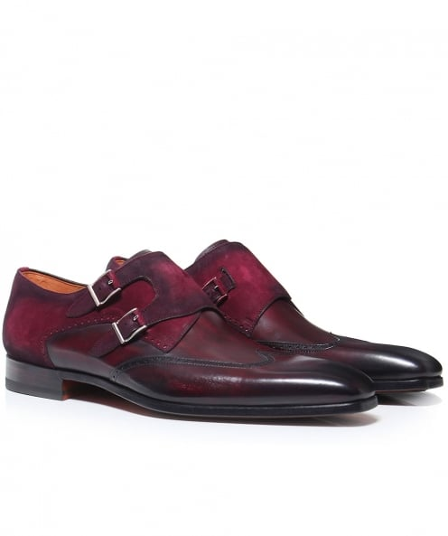 Magnanni Leather & Suede Wing-Tip Monk Strap Shoes