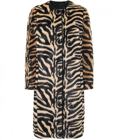 Stand Faux Fur Claire Round Neck Coat