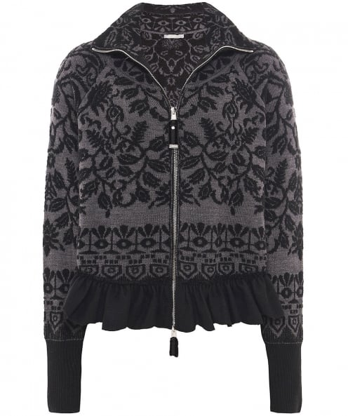 High Wool Tapis Intarsia Zip Cardigan