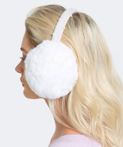 Yves Salomon Wool Strap Fur Ear Muffs