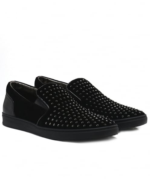 HUGO Studded Velvet Slip On Trainers