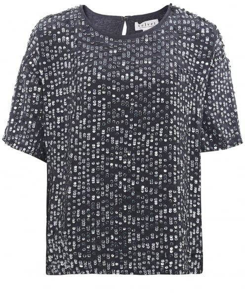 Velvet by Graham and Spencer Sequin Embellished Lynne Top