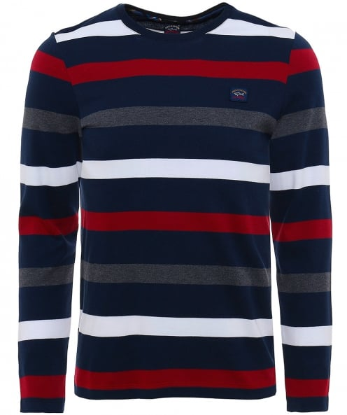Paul and Shark Crew Neck Striped Jumper