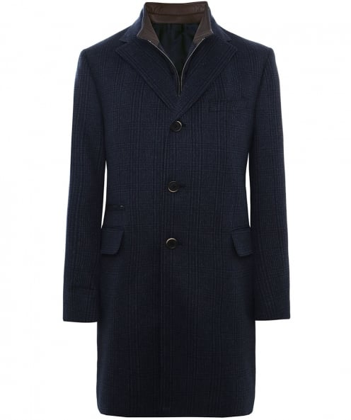 Corneliani Wool Check Overcoat