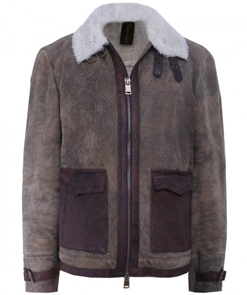 Delan Leather Collared Shearling Jacket
