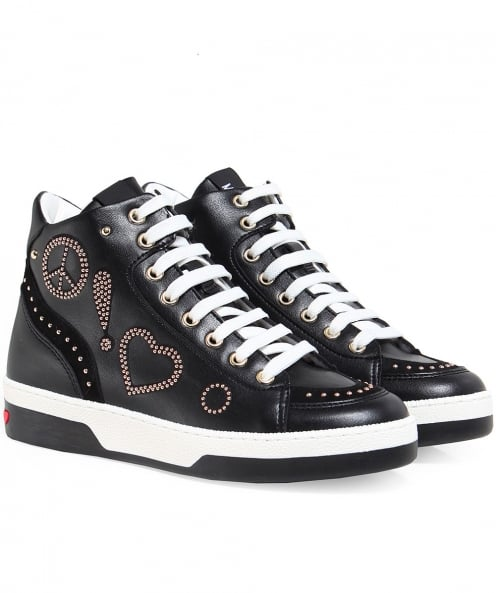 Moschino Love Moschino Leather Peace High Top Trainers