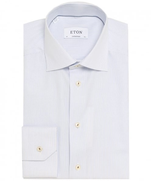 Eton Contemporary Fit Pinstripe Twill Shirt