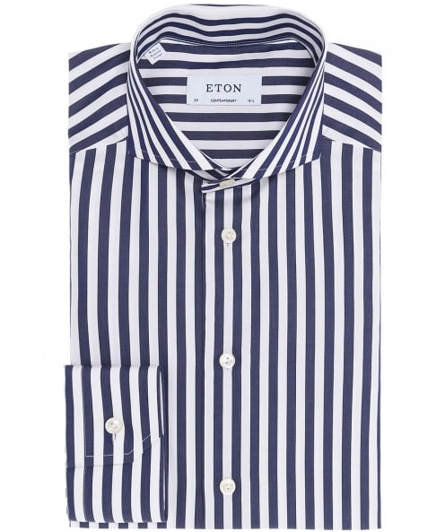 Eton Contemporary Fit Striped Satin Shirt