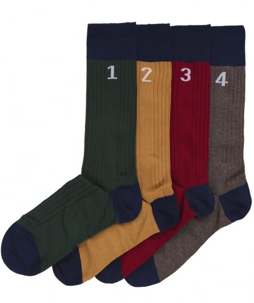 Hackett Four Pack of Numbered Socks