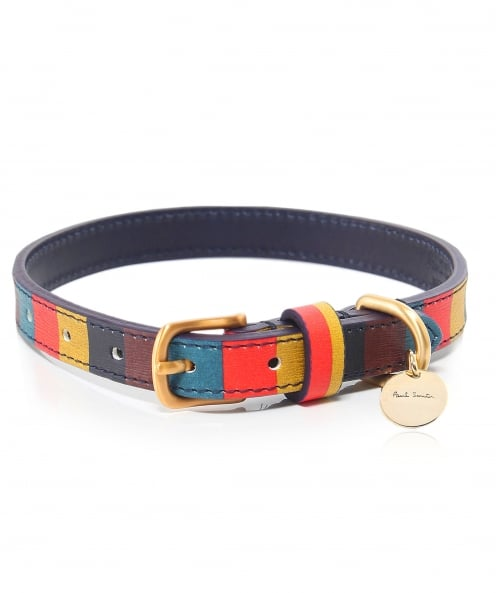Paul Smith Striped Leather Dog Collar