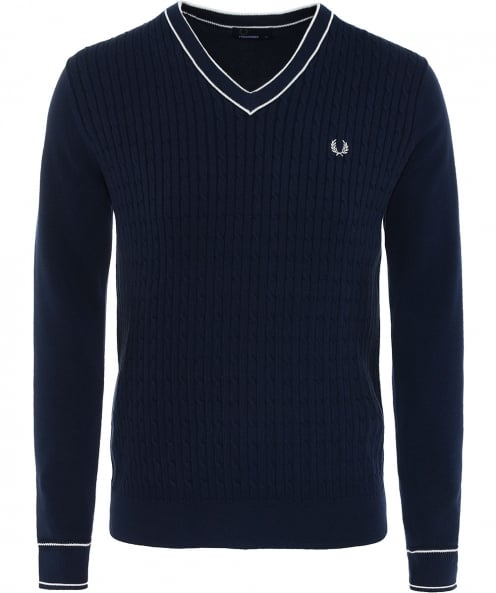 Fred Perry Cable Knit V-Neck Jumper