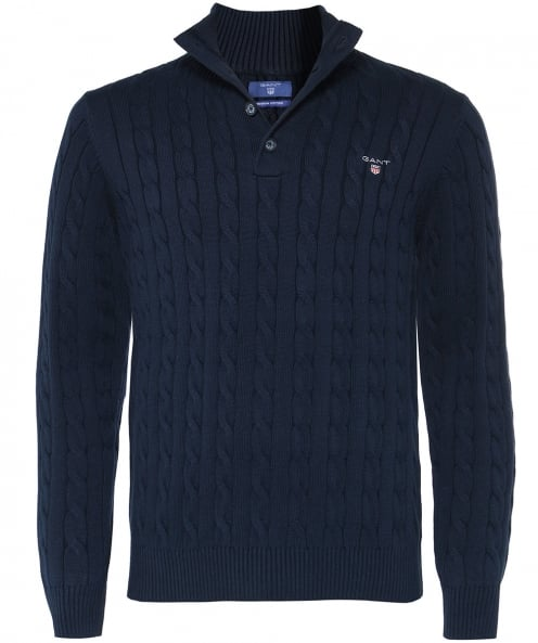 GANT Cotton Cable Knit Mock Neck Jumper