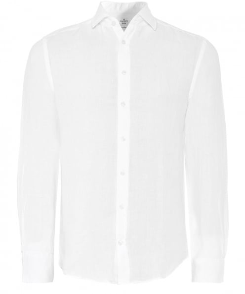 Hackett Slim Fit Garment Dyed Linen Shirt